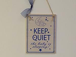 Keep quiet Gigoteuse Bleu Chambre Panneau/Plaque