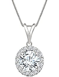 "Silvernshine 7mm D/VVS1 Diamond Halo Pendant 18"" Chain In 14K White Gold Fn"