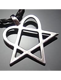 """Amulet Heartagram Star Heart HIM Pewter Pendant with 20"""" Choker Necklace"""