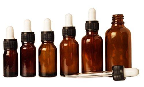 6 pièces aromathérapie huiles ambre verre des bouteilles vides de gros boston bouteilles de sérum rondes pipette rechargeable de pipette 10 ml bouteilles