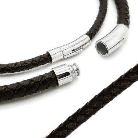 SoulCats® geflochtene Lederkette mit Edelstahl Hebeldruckverschluss schwarz braun Leder, Farbe:dunkelbraun;Auswahl:Stärke 6 mm;Länge:38