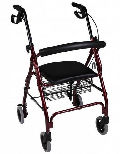 Deambulatore girello da passeggio di alluminio per anziani con seduta e 4 ruote