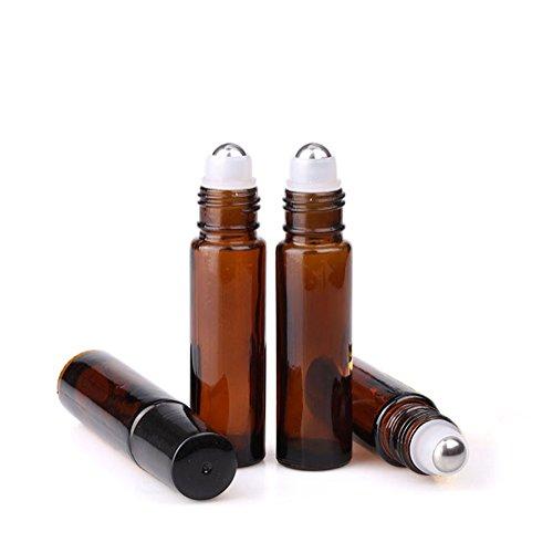 Rimandy Glasfläschchen mit Roll-On-Einsatz, leer, Kosmetik, Düfte, ätherische Öle, mit schwarzen Kappen, dick, 6 Stück, braun, 10ml -