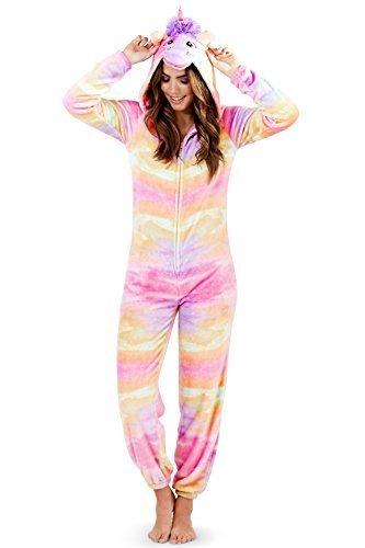 ler Damen Schlafanzug 3D Ohren Horn & Schwanz All in One Loungewear Gr. 48, Rainbow Unicorn (Hausschuhe Für Mädchen Auf Verkauf)