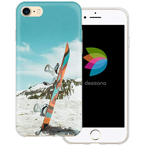 dessana Winter Sport transparente Schutzhülle Handy Case Cover Tasche für Apple iPhone 8 Snowboard - Snowboard Kunst