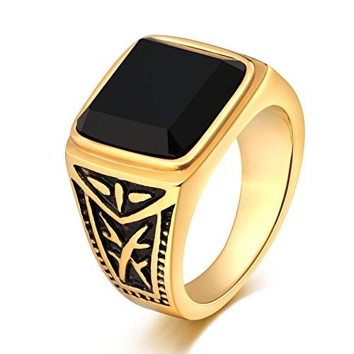 Anazoz gioielli anelli uomo acciaio fede ragazzo acciaio inossidabile moda vintage stile oro anello fedina fidanzamento con nero pietras size 15
