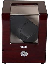 Lindberg & Sons Bobinadora para 2 relojes automáticos Madera café Cuero sintético Terciopelo color crema Luces LED - UB8116WNKH