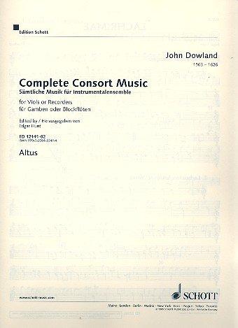 Sämtliche Musik für Instrumentalensemble: Werke für Gamben oder Blockflöten. 5 Streicher oder 5 Blockflöten (SATTB) und Basso continuo (Laute, Noten Cembalo, Orgel). Altus - Violinschlüssel.