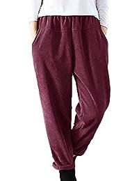 Huateng Pantaloni di Velluto a Coste Donna Pantaloni Morbidi Pantaloni  Invernali Autunnali 902697f66953