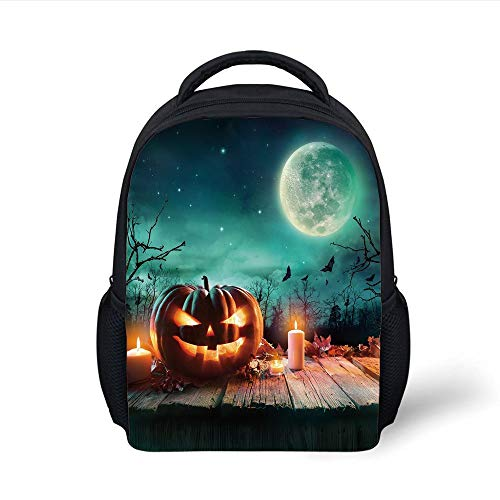 Kids School Backpack Halloween,Fantastic Magic Night Spooky Atmosphere Candles Pumpkin on Wooden Planks Print,Multicolor Plain Bookbag Travel Daypack (Window Halloween Magic)
