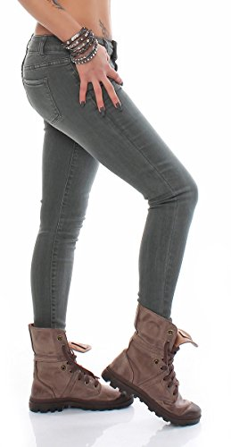 SKUTARI Luxuriöse Designer Royal Soft Skinny Slim Stretch Denim Jeans Röhrenjeans Olive