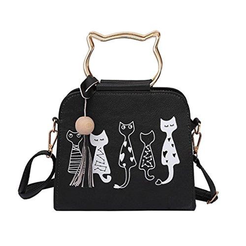 ESAILQ Animaux Messenger Sac à main Femmes Sacs À Main Motif mignon lapin de chat Sac à bandoulière (Noir)