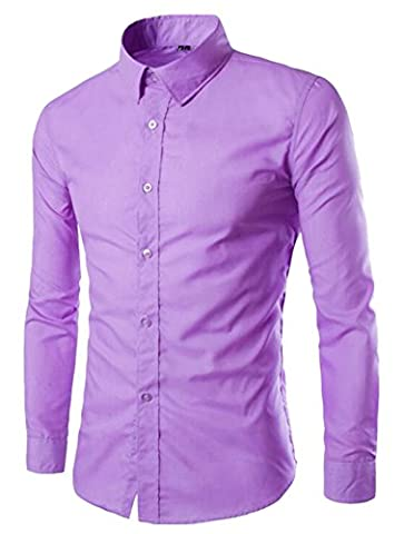 DD UP Hommes Solide Bouton Business Casual Coton Chemise À Manches Longues Dress Shirts