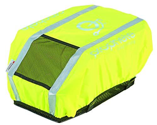 abereda XXL Fahrradkorb hinten für Gepäckträger mit Regenabdeckung neongelb oder pink oder grün mit Reflexstreifen