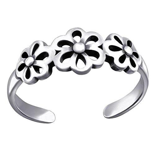 So Chic Joyas - Anillo dedo pie ajustable Flores Plata