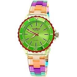 Coole NY London Rainbow Kunstoff Uhr bunte Kunststoff Damen Armbanduhr Damenuhr Kinderuhr Jungen/Mädchen Armband Uhr Grün Rot Lila inkl Uhrenbox