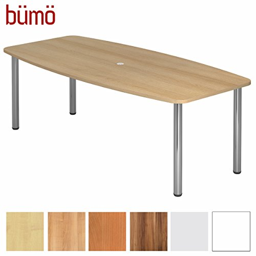 BÜMÖ Konferenztisch rund oval 220 x 103 cm in Eiche | Besprechungstisch mit Chromfüße |...