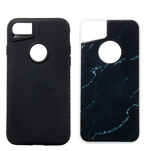 iPhone 8 Hülle,iPhone 7 Hülle,Handyhülle iPhone 8 / iPhone 7 Silikon Hülle,ikasus® [Heavy Duty Serie] Marble Marmor Muster Hybrid Outdoor Dual Layer Armor Hülle Case Handy Schutzhülle für Apple iPhone Schwarz