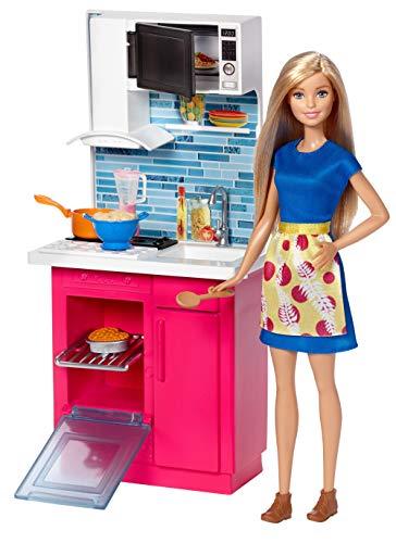 Barbie DVX54 - Spielset Küche und Puppe, Puppenzubehör - Puppe Küche
