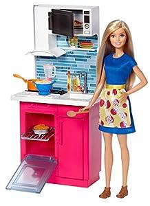 Barbie Muebles de la casa, Muñeca y cocina, accesorios casa de muñecas (Mattel DVX54)