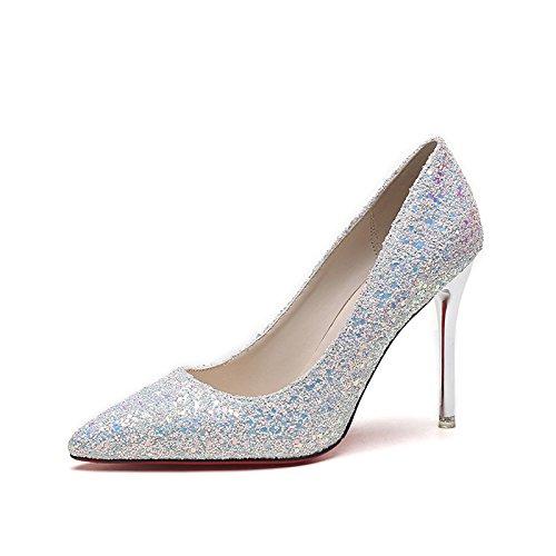 Hochzeit Heels Silberne (Die Schuhe High-Heel_silberne Spitze mit feinem Dining mit Lady Schuhe Hochzeit Schuhe Wilde einzelne Schuhe, Weiße 37)