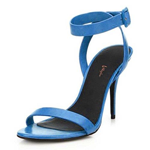 SHOFOO - Femmes - Escarpins - Cuir brillant synthétique - Bride de cheville - Rouge ou Bleu ou Marron - Talon aiguille - Bout rond ouvert Bleu