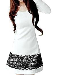 Allegra K Women Fall Winter Long Sleeves Lace Embellished Shift Short Dress