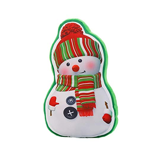 Schneemann-kissen (Weihnachts Deko,Wawer LED Musik Weihnachtsbaum Glühender Anhänger kleines Kissen Geschenk Schneemann Weihnachtsbaum Santa Ornament Home Party Decor (B))