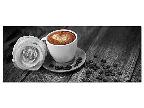 GRAZDesign Wandbild Kaffee Küche - Schwarz Weiß Braun - Acrylglasbild Bilder Aus Acryl Fotografie Fotodruck - Dekoration Wohnung modern / 125x50cm / 100064_002_01_04