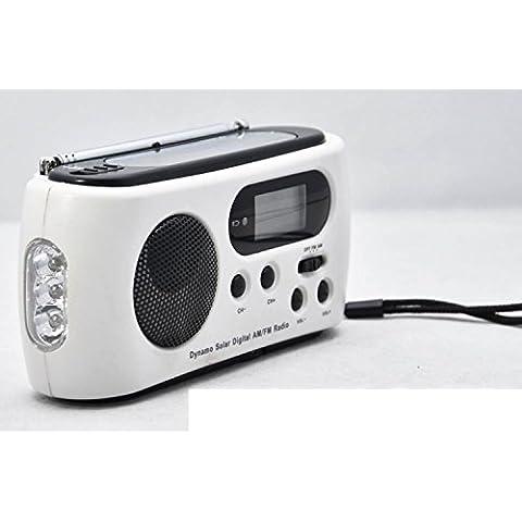 MAYMOC Auto tune radio Solar dínamo linterna AM / FM radio, cargador de emergencia para teléfonos móviles