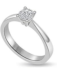 0.35ct H/SI1 Solitär Diamant Verlobungsring für damen mit Runder Brillantschliff Diamanten in 18kt (750) Weißgold