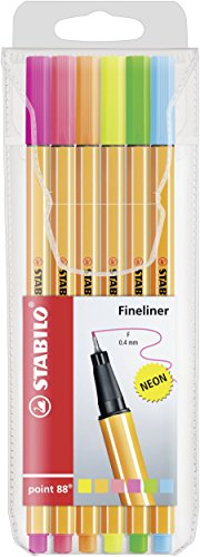 STABILO-Point-88-Neon-Colours-Fineliner-Pen-Assorted-Colours-Pack-of-6