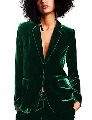 Lrud Frauen 1 Knopf Samt Blazer Jacke Anzug Schlank Passen lässig Revers Dehnbar Geschäft Mantel für die Arbeit L