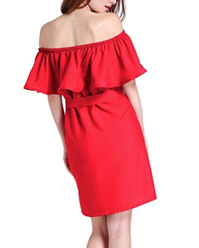 QIYUN.Z Femmes Slash Cou Épaule Froide Falbala Occasionnelle Robe D'Été Avec Ceinture Rouge