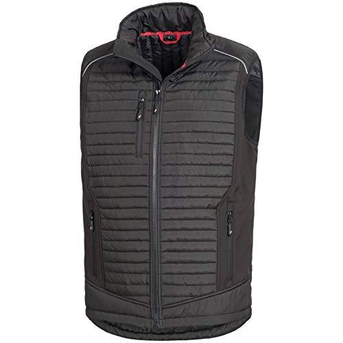 Nitras Motion TEX Plus - Schwarze Softshellweste für Damen & Herren - Gesteppte Weste mit Windstopper - Arbeitsweste mit Brusttasche und Seitentaschen Größe XXL -