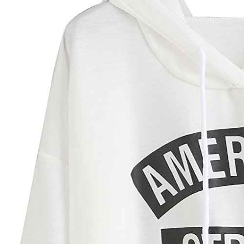Tonsee® Femme Manches Longues Lettres Blanc Impression Hooded Sweatshirt Pulls Blanc