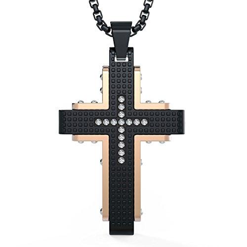 COOLMAN Edelstahl Anhänger Halskette Herren Kreuz Halskette 60 cm mit kubisch-Zirkonia Eingelegt