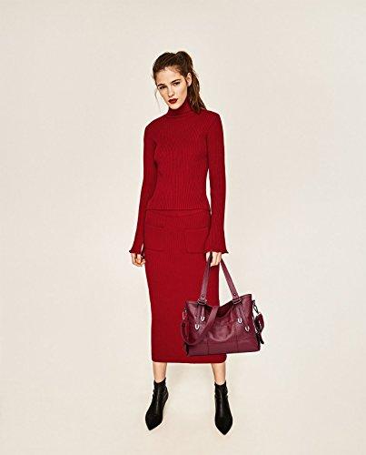 Sunas Il nuovo raccoglitore dell'unità di elaborazione del sacchetto del messaggero della spalla della borsa della borsa di traversa della borsa della spalla del nuovo della borsa di spalla vino rosso