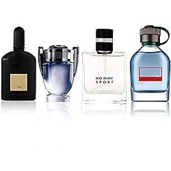 4 * 25ml Parfum Homme - 4 parfums différents,Respire un style personnel imparable,C'est un cadeau idéal pour votre père, votre petit ami ou un autre ami de sexe masculin (Le noir est amélioré)