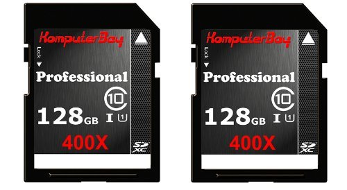 Best Komputerbay 2 PACK – 128GB SDXC Class 10 400X UHS-I Ultra High Speed Flash Memory Card 45MB/s Write 60MB/s Read