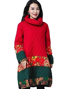 Vogstyle Mujer labor de retazos Impresa Larga Capa Chino Vestido étnico Abrigo
