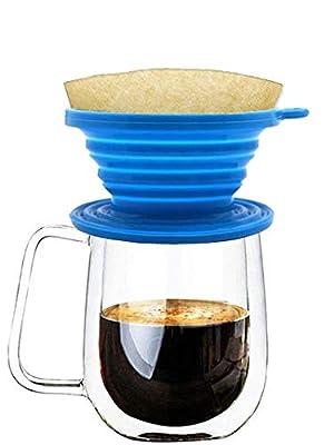 Wolecok Coque en silicone pliable filtre à café avec un crochet gratuit, thé Goutteur Cône, Versez de café Brewer, Carafe Infuseur (Bleu)