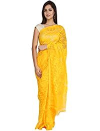 fd852f08a8 Tanya Sunshine Yellow Hand Woven Bengal Pure Cotton Dhakai Jamdani Saree