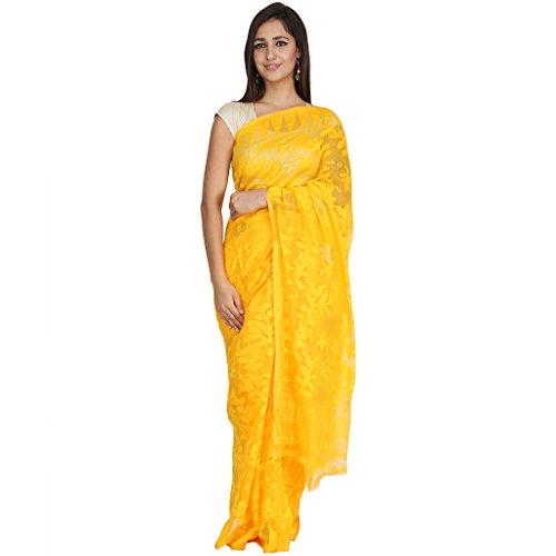 Tanya Sunshine Yellow Hand Woven Bengal Pure Cotton Dhakai Jamdani Saree
