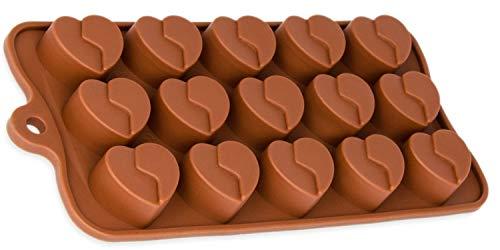 BlueFox Silikonform 15 Herzchen Pralinenform Herz Eiswürfel Schokolade Form Süßigkeiten Dekoration Förmchen Bonbon Schoko Verzierung Ice Cube Mould Fondantform Eiswürfelform Silicone, Farbe: Pink