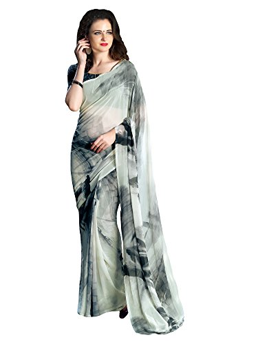 Saree Mall Women's Georgette Saree With Blouse Piece (Pihu219_Grey)