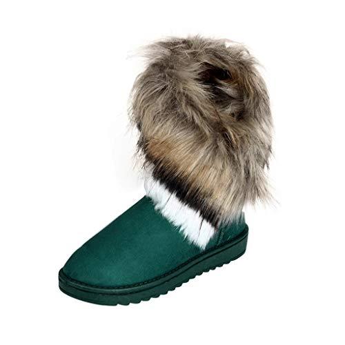 Damen Flach Schuhe SHOBDW Frauen Winter Mode Sexy Künstliche Pelz Dekoration rutschfest Wildleder Stiefeletten Klassisch Trendigen Draussen Wild Warem Niedrig Stiefel Schneestiefel