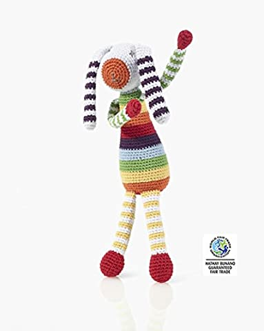 Soft Toy Bunny Rabbit Rattle Rainbow Stripes Hand Made and Fair Trade by Pebble. 21 cm.