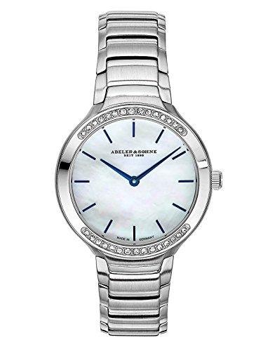 Abeler & Söhne fabricado en Alemania–Reloj de pulsera para mujer con correa de acero inoxidable, cristal de zafiro y Circonia as3194
