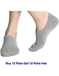 Zupero Pack of 12 Premium Mercerised Anti Slip Cotton Loafers No show Plain ankle Socks For Men , Women , Boys & Girls ,| Unisex Cotton Invisible Socks Liners For Daily Use & Sports | Fits Upto UK Size 10, US Size 12 & Euro Size 45 | (Pack of 12 pairs Combo Free Size . Grey, D.Grey , Blue , Black White .)